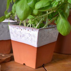 Windowsill Square Herb Pot & Tray