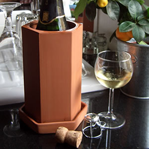 Terracotta Hexagonal Wine Cooler with Saucer