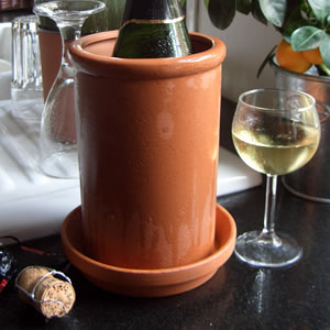 Terracotta Round Wine Cooler with Saucer