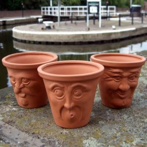 Terracotta Facepots set of three