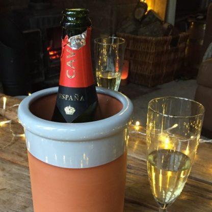 0001586 wine cooler round with pale grey glaze